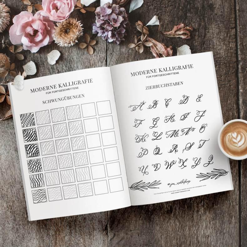 Übungsblätter Übungsheft Moderne Kalligraphie für Fortgeschrittene Guide Booklet Download Kurs Workshop Übungen Spitzkehre Copperplate Schönschrift fortgeschritten Kalligrafie Hand Lettering Vorlagen