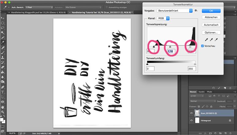 Tonwertkorrektur Photoshop Schrift Retusche Handschrift digitalisieren