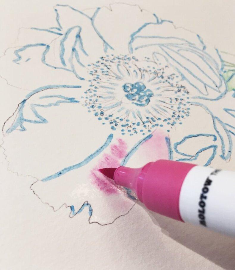 Aquarellfarbe Aquarellmalerei Brush Pen Molotow Ecoline Wasserfarben peonie Pfingsrose blush rosa DIY Tutorial Masking Fluid