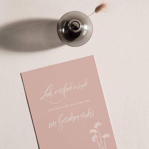 Kunstdruck Familie Liebe Print rosa Trockenblumen