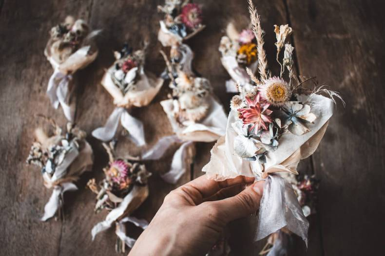 Trockenblumen Strauß Mini Bouquet Seide Muttertag Geschenk
