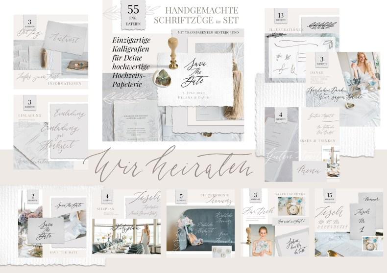 Kalligraphie Hochzeitseinladungen selbst selber drucken gestalten basteln Ideen DIY Vintage günstig Hochzeit Sprüche Text Einladung Kalligrafie Set