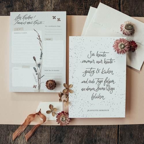 Notizblock Block Notizbuch To-Do-Liste floral Trockenblumen Watercolour Kalligrafie Kalligraphie Termine Büro Geschenk