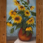 Red Finch and Sunflowers by Jeannie House