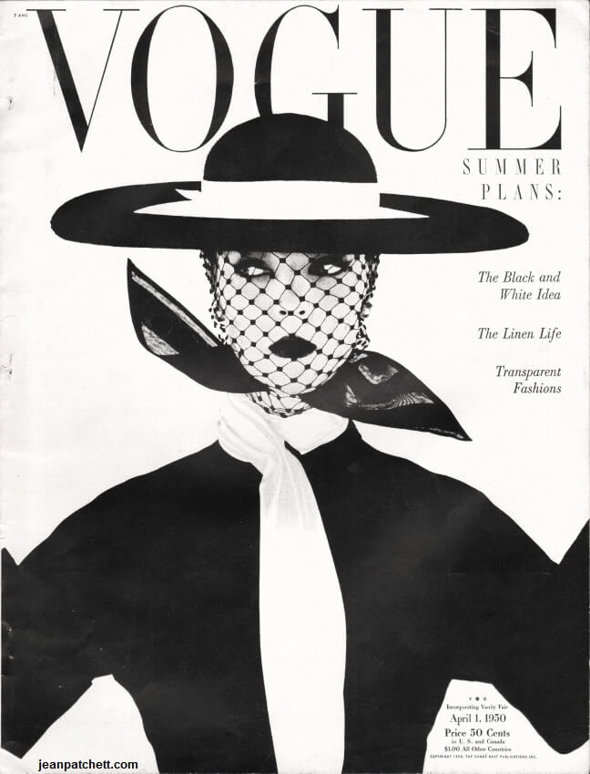 Jean Patchett photographed by Irving Penn for the cover of Vogue magazine, April 1950