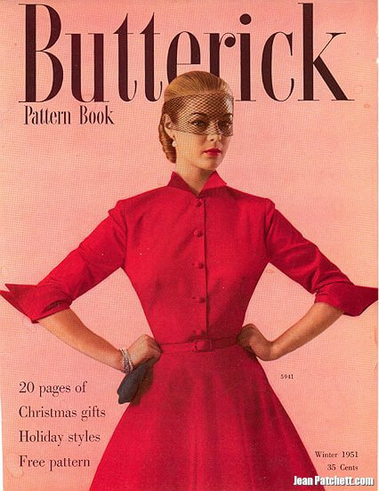 Jean Patchett wears Butterick 5941 on the cover of Butterick Pattern Book