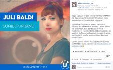 Post de estreia da Juli Baldi na Unisinos FM | Alcance 100% orgânico