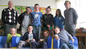 Bibliothèque Entry island school (book donation and discussion with pupils, classe of M. François Babin)