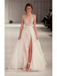 A-line Scoop Neck Chiffon Tulle Floor-length Beading Prom Dress