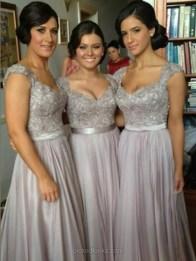 Grey Chiffon Straps Floor-length A-line Appliques Prom Dress