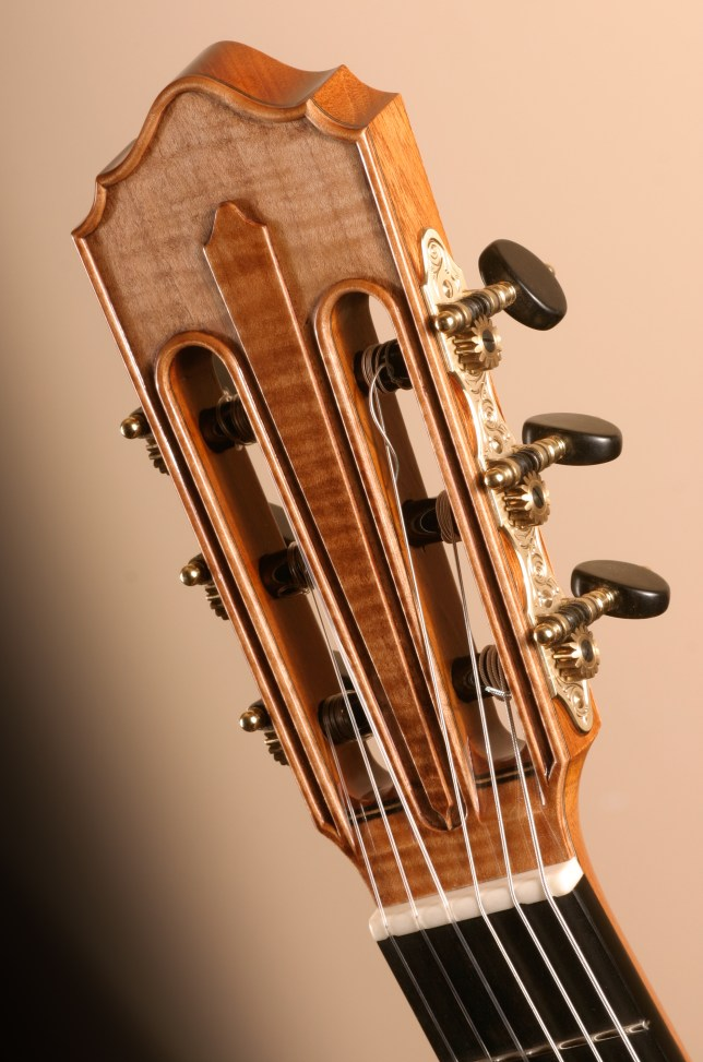Carved Headstock Classical guitar in Flamed big leaf maple Jean Rompré guitare classique érable