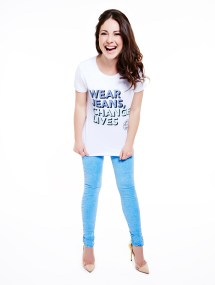 Louise Thompson in Jeans for Genes white campaign t-shirt