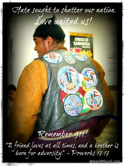A 911 welder shows off his patches of brotherhood. (Prov. 17:17 -- Friendship & Brotherhood)