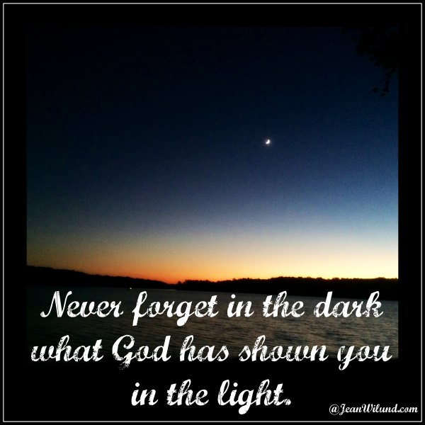 Never Forget in the Dark What God Has Shown You In The Light (Praise Picture)