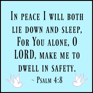In peace I will both lie down and sleep, For You alone, O LORD, make me to dwell in safety. Psalm 4:8 NASB