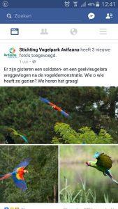 Avifauna plaatste een bericht over de vermissing.