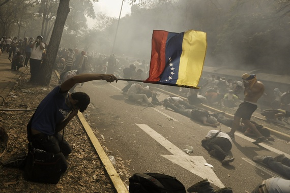 Venezuelan protester tear-gassed