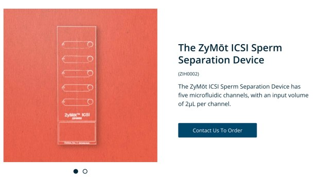 Zymot sperm sorting chip (photo credit: Zymot)