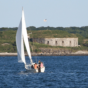 Scenic view of sailing in Casco Bay