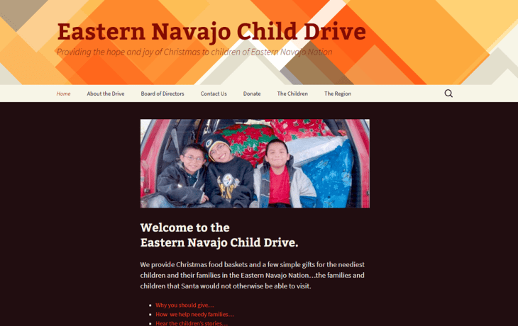 Screenshot of Eastern Navajo Child Drive