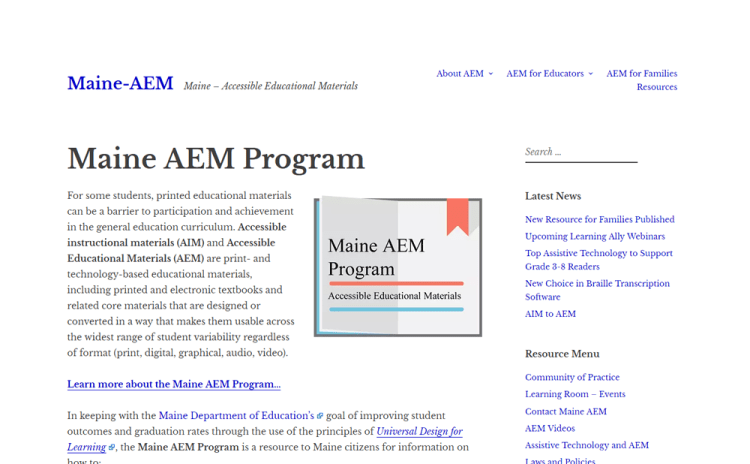 Screenshot of Maine AEM