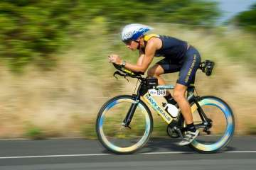 Man in bike race