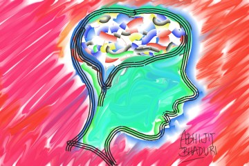 abstract drawing of person's brain