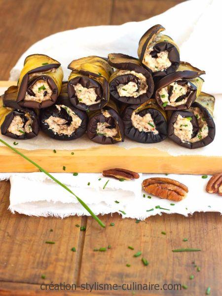 aubergines roulées aux noix de pécan