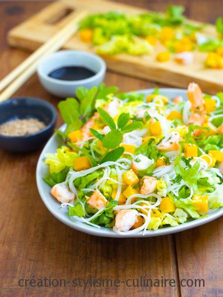 Salade crevettes mangue vermicelles de riz