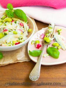 Salade de fèves, radis et harengs marinés