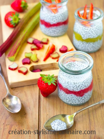 pudding de chia fraise rhubarbe