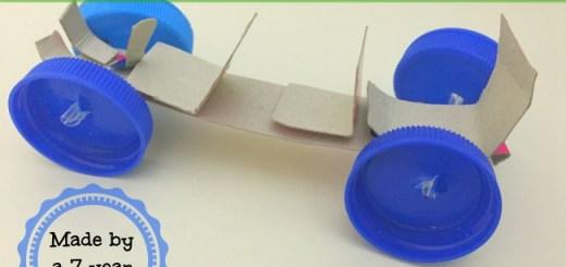 cardboard bottle caps toy car