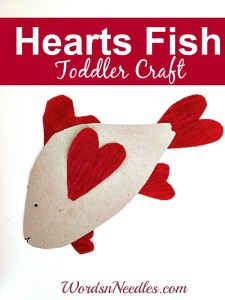make a fish craft using crepep paper hearts