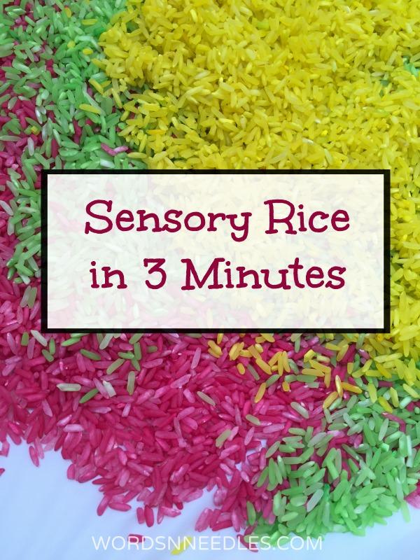sensory rice recipe wordsnneedles