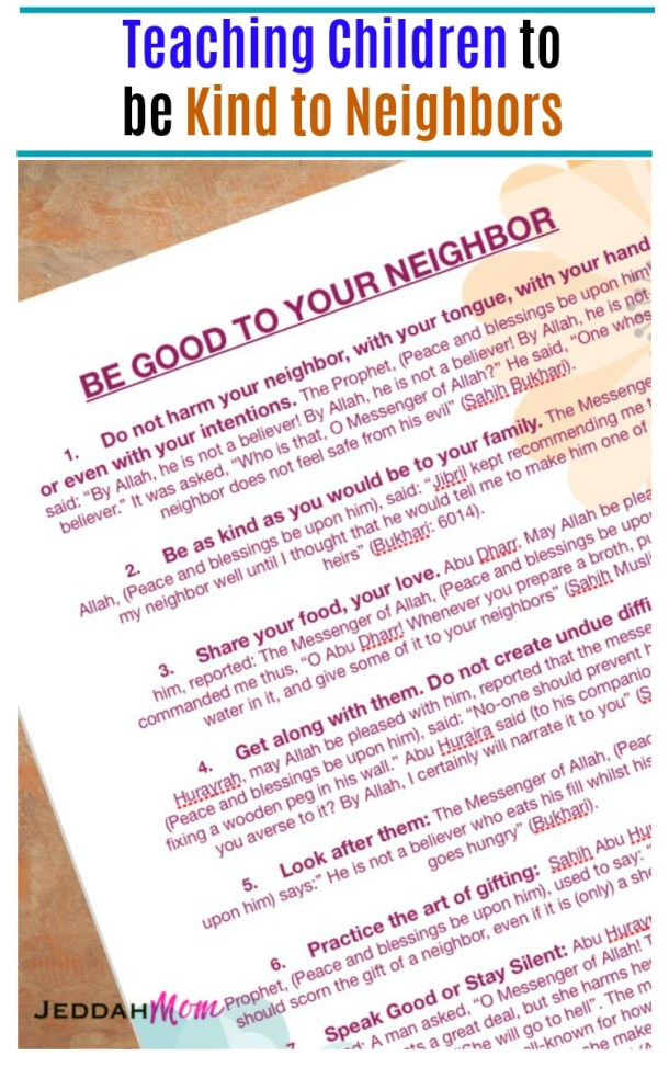 Rights of neighbours in Islam Teaching children to be kind to neighbors Islamic Manners for Kids Akhlaaq series JeddahMom