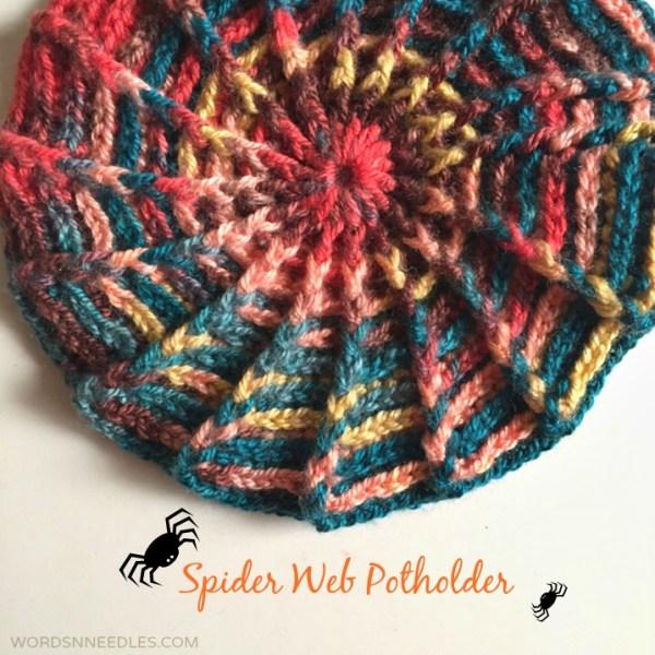 crochet pattern spider web potholder beanie slouchie design
