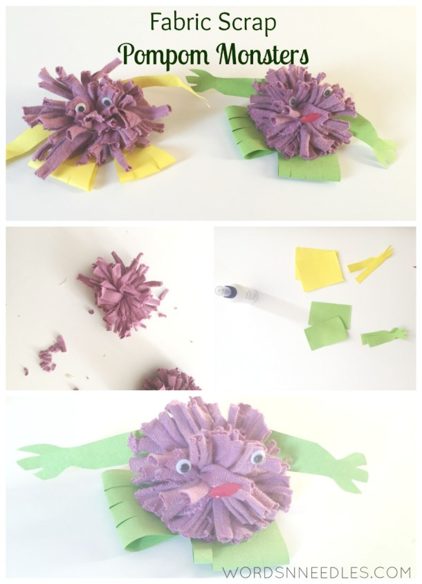 fabric scraps recycle project pompom monsters junk play