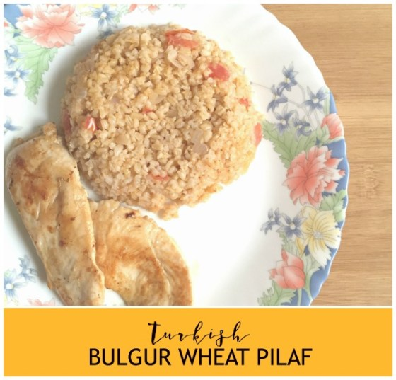 Turkish Bulgur wheat Pilaf Recipe Vegetarian side dish with kebabs or steaks