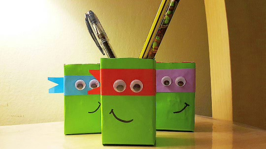 DIY Easy Ninja Turtle Pencil Holder