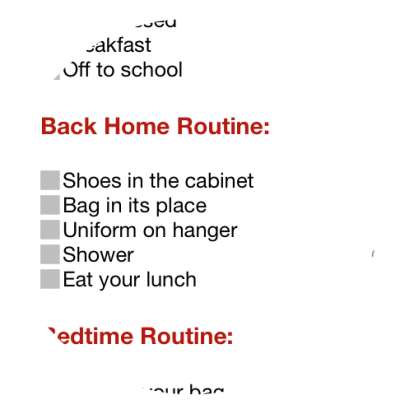 back home part Routine Chart for kids JeddahMom