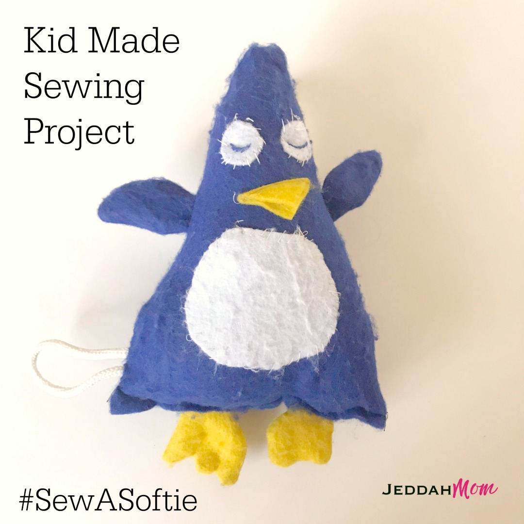 Kid made Sewing Project Sew a softie Felt Penguin JeddahMom
