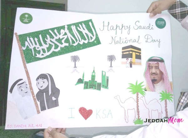 Saudi National Day art by grade 4 child JeddahMOm