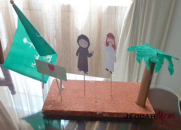 Saudi National Day craft by child JeddahMom