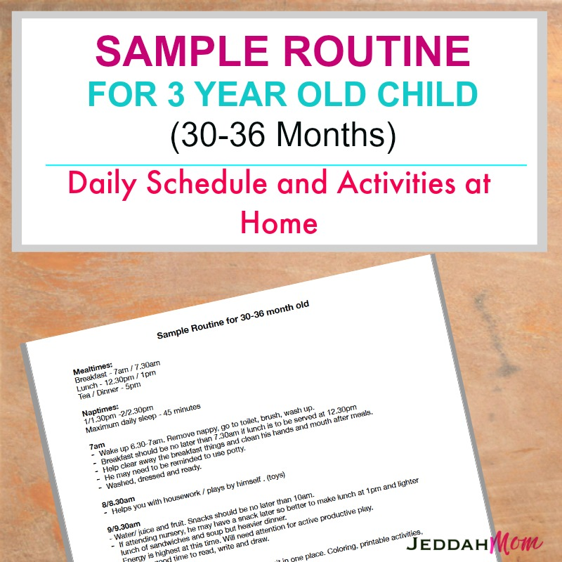Sample Routine for a 3 Year Old Child
