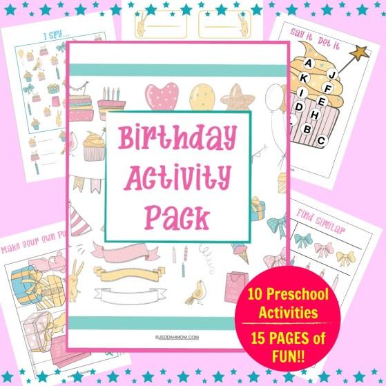 Birthday activity pack Preschool printables