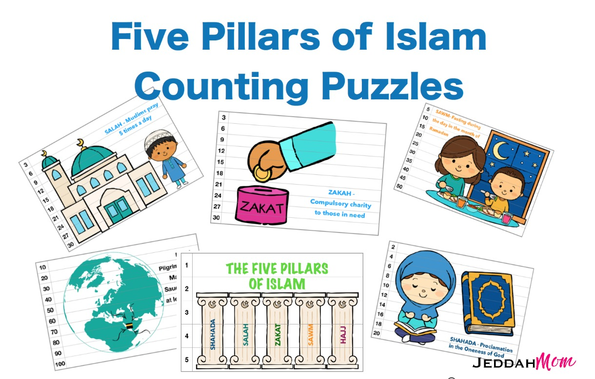 picture relating to Ramadan Cards Printable called 5 Pillars of Islam Printable Counting Playing cards