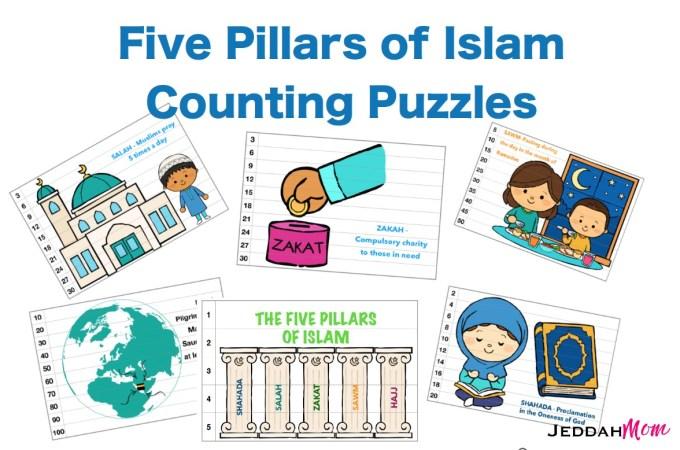 five pillars of Islam counting cards Ramadan activities for kids