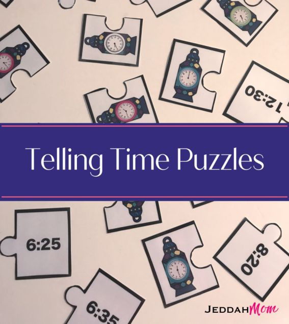 Telling Time puzzles that teach children to tell time kindergarten activity
