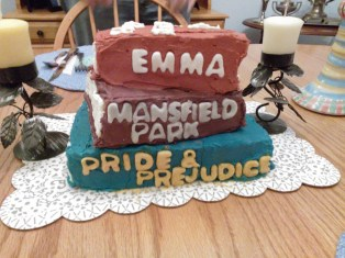 3 books; 3 layers of cake
