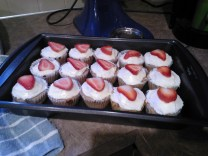 Just frosting from a can, with fresh strawberries on top
